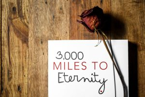 3,000 Miles To Eternity top of bookmark with rose