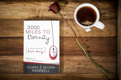 3,000 Miles To Eternity horizontal Front cover with rose and mug of tea