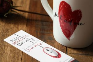3,000 Miles To Eternity closeup of bookmark with rose and mug